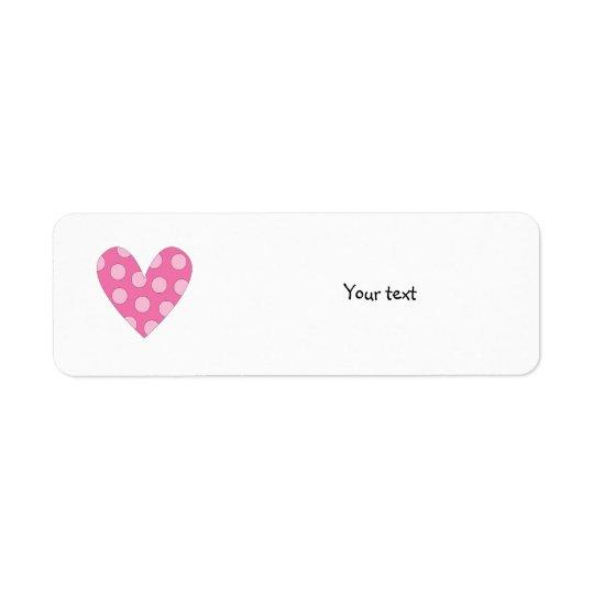 Romantisk rosa hjärtateckning returadress etikett