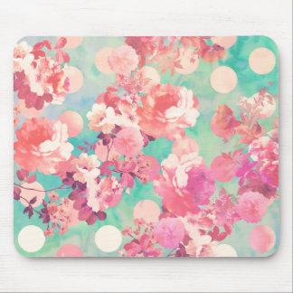 Romantisk rosa Retro blommönsterkrickapolka dots Musmatta