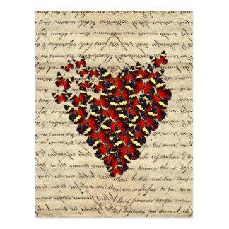Romantisk vintagefjärilshjärta vykort