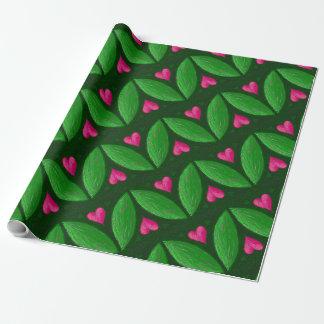 Romantiska hjärtor och löv - grönt- och rosafärger presentpapper