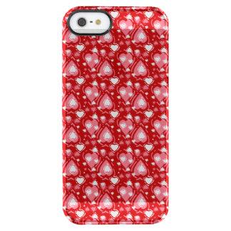Romantiska hjärtor på röda hjärtor och vit clear iPhone SE/5/5s skal