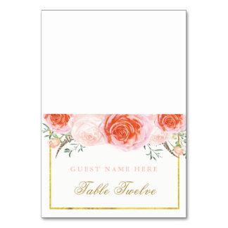 Romantiska korall- och rosaeskortkort bordsnummer