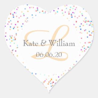 Romantiska regnbågekonfettinamn och bröllop hjärtformat klistermärke