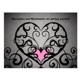Romantiska rosa hjärtor på grå bröllop spara datum vykort