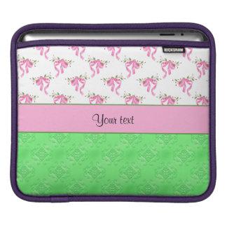 Romantiska rosapilbågar & grön damast sleeve för iPads