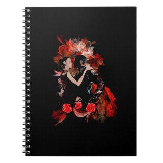 Romantiska tangodansare på röd fractal anteckningsbok