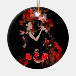 Romantiska tangodansare på röd fractal julgransprydnad keramik
