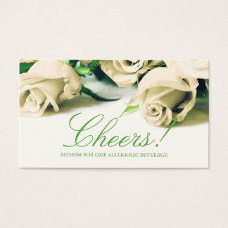 Romantiska vit ros som gifta sig drinkbiljetten visitkort