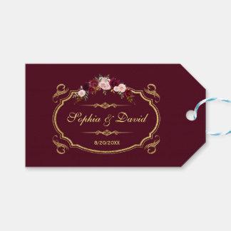 Romantiskt Burgundy Marsala blom- nedgångbröllop Presentetikett