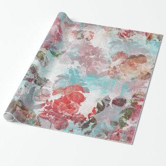 Romantiskt chic rosa blom- krickavattenfärgmönster presentpapper