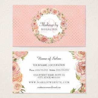 Romantiskt rosa guld pricker den rosa blom- visitkort