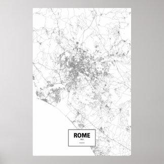 Rome italien (svarten på vit) poster