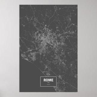 Rome italien (vit på svart) poster