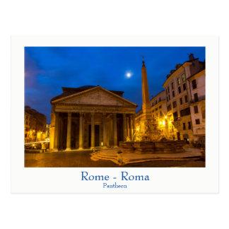 Rome - Pantheon på fullmånevykortet med text Vykort