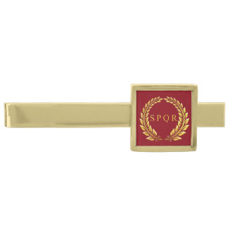 Romersk imperialistisk SPQR-slipshållare Slipsnål Med Guldfinish