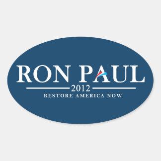 Ron Paul 2012 - Återställande Amerika nu Ovalt Klistermärke