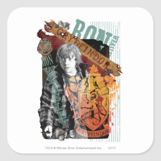 Ron Weasley Collage 1 Fyrkantigt Klistermärke