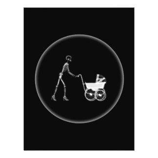 Röntga den skelett- mamman & babyen - original B&W Flygblad