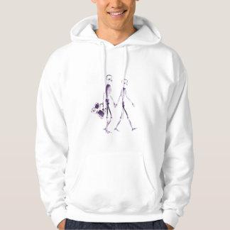 Röntga skelett kopplar ihop resanden - lila tröja med luva