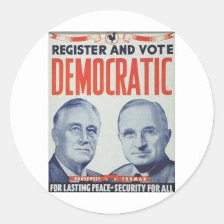 Roosevelt 1940 - Truman Runt Klistermärke