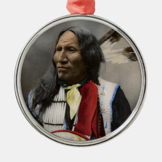 Rop på Oglala Sioux 1899 indiska vintage Rund Silverfärgad Julgransprydnad