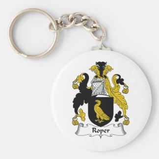 Roper familjvapensköld rund nyckelring