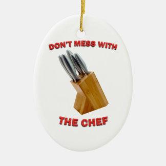 Röra inte med den ovala julprydnaden för kocken julgransprydnad keramik