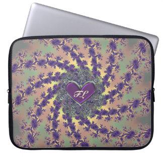Röra sig i spiral den gröna Monogrammed Fractalsle Laptopskydd Fodral