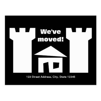 Röra vykort med det roliga huset och nytt adress