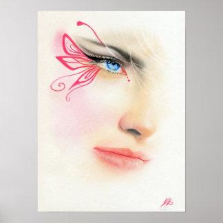 Rosa AFFISCH för konst för fantasi för fjärilsblåt