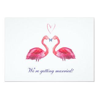 Rosa akvarell för flamingokärlekhjärta 12,7 x 17,8 cm inbjudningskort