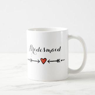 Rosa älsklingar & lantliga brudtärna för pilar kaffemugg