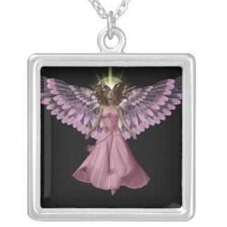 Rosa ängelhalsband halsband med fyrkantigt hängsmycke