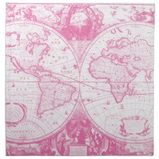 Rosa antik karta av världen tygservett