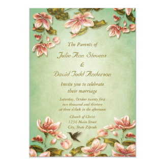 Rosa Azaleasvintage på grönt mistbröllop 12,7 X 17,8 Cm Inbjudningskort