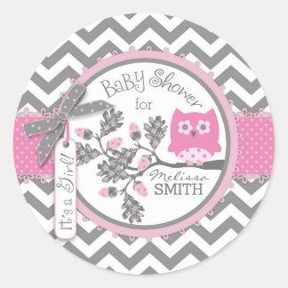 Rosa baby shower för ugglasparretryck runt klistermärke