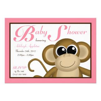Rosa baby showerinbjudningar för gullig apa
