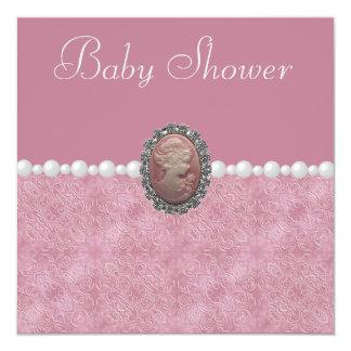 Rosa baby showervintageCameo & pärlor Fyrkantigt 13,3 Cm Inbjudningskort