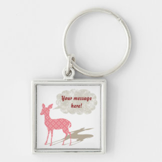Rosa Bambi tillfällenminnessak Keychain Fyrkantig Silverfärgad Nyckelring