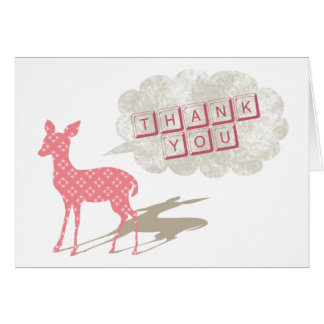 Rosa Bambi vikt tackhälsningkort Hälsningskort