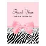 Rosa band för babytack och snörezebra tryck vykort