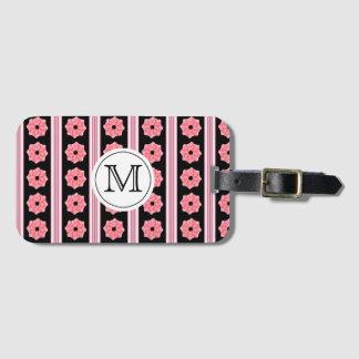 Rosa band för Monogram på svart bagagemärkre Bagagebricka