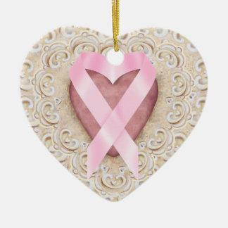 Rosa band från hjärtan - SRF Julgransprydnad Keramik
