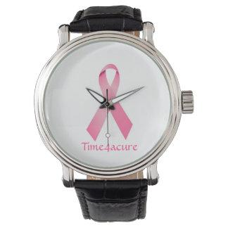 Rosa bandklockabröstcancer armbandsur