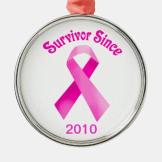 Rosa bandprydnad för bröstcancer julgransprydnad metall