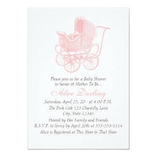 Rosa barnvagnbaby shower för vintage 12,7 x 17,8 cm inbjudningskort