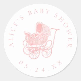 Rosa barnvagnbaby shower för vintage runt klistermärke