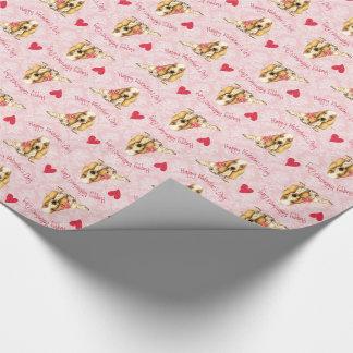 Rosa Basset för valentin Presentpapper