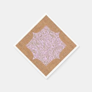 Rosa beige design för färgvintageScrollwork Burlap Servetter