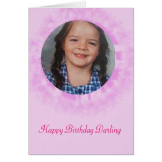 Rosa beställnings- foto för grattis på hälsningskort